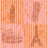 Sketch Eifel Tower, Pisa Tower, Big Ben And Coliseum, Vector Set