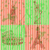 Sketch Eifel Tower, Coliseum, Big Ben And Statue Of Liberty, Vector Set