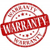 Warranty Red Round Grungy Vintage Rubber Stamp