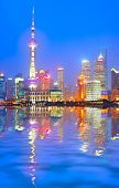 Shanghai skyline at night, China