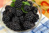 Mulberries In A Glass Bowl