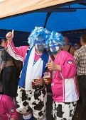 The ice hockey fans in costumes from Finland