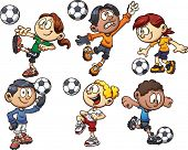 Cartoon kids playing soccer. Vector clip art illustration with simple gradients. Each on a separate
