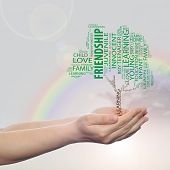 Concept or conceptual green education text word cloud or tagcloud as a tree on man or woman hand on rainbow sky  background