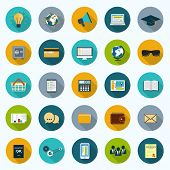 Set of modern icons in flat design with long shadows and trendy colors for web, mobile applications,