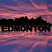 Edmonton skyline reflected with text and sunset illustration