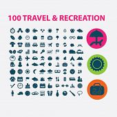100 travel, summer vacation, beach icons set, vector