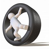 Tyre and 3D man figure