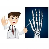 Cartoon Doctor With X-ray Film