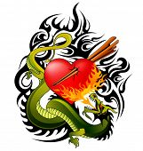 dragon and heart tattoo design
