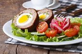 Scotch Eggs With Salad Of Fresh Vegetables
