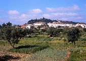 View of town and fields, Portel, Portugal.