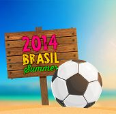 Brazil Summer 2014 Vector, Soccer Ball for Football Design. Beach Sand, Blurred Background with Ocea