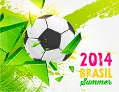 Brazil Summer 2014 Vector, Soccer Ball for Football Design. Abstract Green Background. Paint Splashe