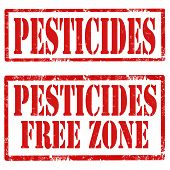 stock photo of pesticide  - Set of grunge rubber stamps with text Pesticides and Pesticides Free Zone - JPG