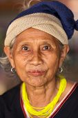 BAM MUANG PAM, THAILAND, NOVEMBER 22 : close portrait of an old Karen tribe woman, Thai ethnicity, i