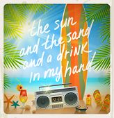 Vintage vector illustration - Old surfboard with summer hand drawn saying and retro cassette recorde