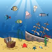 stock photo of galleon  - Underwater illustration of a sunken galleon and treasure chest filled with gold coins resting on golden sand with rays of sunlight and swimming fish  octopus and jellyfish - JPG