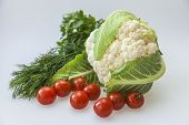 Greens, cauliflower and cherry tomatoes for a salad