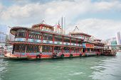 HONG KONG - SEPTEMBER 28, 2011: The world-famous Tai Pak floating restaurant is part of Jumbo Kingdo