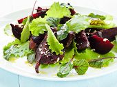 picture of flaxseeds  - Plate with fresh beet - JPG