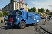 KIEV, UKRAINE - APR 29, 2014: Downtown of Kiev.  Police water cannon truck captured by rioters on th