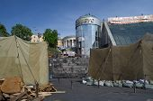 KIEV, UKRAINE - APR 28, 2014: Mass destruction after Putsch of Junta in Kiev. Kiev.April 28, 2014 Ki