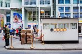 BERLIN, GERMANY-APRIL 18: Checkpoint Charlie on April 18, 2014. It's the best-known Berlin Wall cros