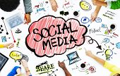 stock photo of seminar  - Group of Business People with Social Media Concept - JPG