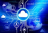 Concept of cloud computing in a cloud computing concept.
