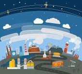 Modern heavy industry illustration