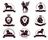 Emblems set with lions