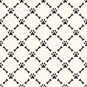 Seamless animal pattern of paw footprint and bone. Endless textu