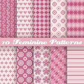 10 Feminine vector seamless patterns (tiling). Fond pink