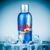 MOSCOW, RUSSIA-APRIL 4, 2014: Bottle of Red Bull Energy Drink. In terms of market share, Red Bull is