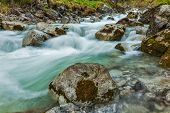 Cascade of Kuhfluchtwasserfall. Long exposure for motion blur. Farchant, Garmisch-Partenkirchen, Bav