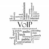 Voip Word Cloud Concept In Black And White