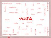 Yoga Word Cloud Concept On A Whiteboard