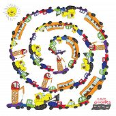 Child's Hand Draw Cars.funny Cartoon Doodle Spiral Composition