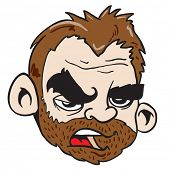 grumpy bearded man cartoon illustration