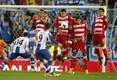 BARCELONA-APRL, 27: UD Almeria players on the wall of the free kick launched by Sergio Graica of RCD