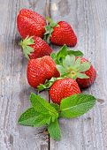 Strawberries And Mint Leafs