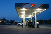 JACKSONVILLE, FL-MAY 17, 2014: A Kangaroo Express store gas station at night. The Pantry Inc company