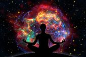 image of big-bang  - Female yoga figure against universe background with Supernova explosion - JPG