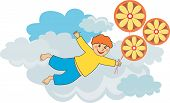 Flying boy by balloons