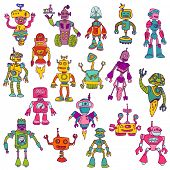 Set of Robots - Hand Drawn Doodles - for scrapbook or your design in vector