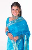 girl with traditional blue silk sari