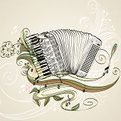 foto of accordion  - hand drawn accordion on a light background - JPG