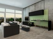 Light airy modern apartment living room interior with a floor to ceiling view window and comfortable