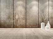 Empty room interior with head lights, concrete wall and white vases